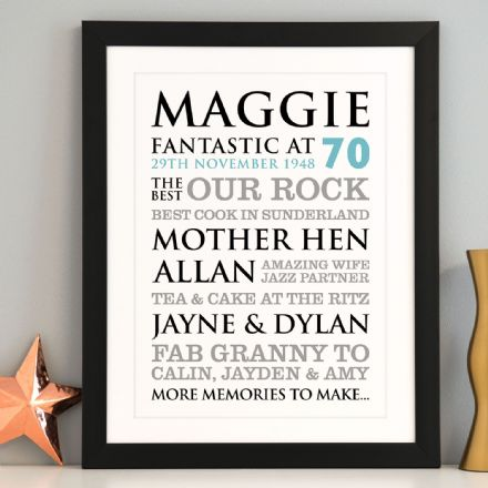 Personalised 70th Birthday Typographic Art Print